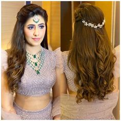 Lehenga Hairstyles, Hairstyles For Gowns, Open Hairstyles, Easy Hairstyles For Long Hair, My Hairstyle, Wedding Hairstyles For Long Hair, Indian Bridal Hairstyles, Hairstyles For Round Faces, Amazing Hairstyles