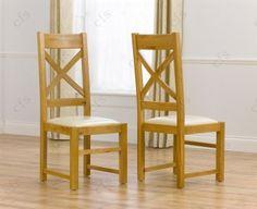 Mark Harris Stefini Solid Dark Oak Dining Chair Beige Fabric