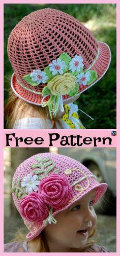 Crochet Flower Sun Hats – Free Pattern #freecrochetpatterns #sunhat #panamahat #girlshat