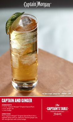 Classic bold Captain with a zesty twist. Discover what a simple splash of sweet ginger can add to this delicious rum cocktail recipe.  #gingerale #drinks #thecaptainstable