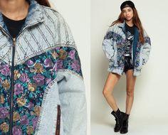 80s Denim Jacket ACID WASH Jean Jacket FLORAL Print Oversize 1980s Vintage Purple Hipster Crazy Women Coat Retro Blue Medium large