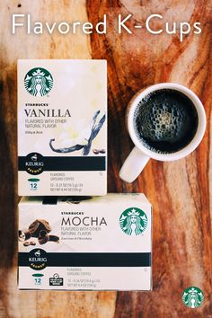 Flavored K-Cups are great if you want a little flavor without any sugar—two we love are Mocha and Vanilla. Mocha is a medium roast with a rich, chocolaty flavor. And Vanilla is a lighter roast with a hint of creaminess.