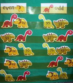 Free dino number cards for sorting into even and odd groups, number recognition, greater than less than practice, or whatever else you can think of!