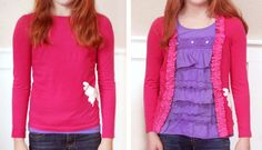 Turning A T-shirt Into A Cardigan- tees t-shirts t shirts upcycle refashion recycled Diy Clothing, Sewing Clothes, Sewing Hacks, Sewing Crafts, T Shirt Hacks, Umgestaltete Shirts, The Cardigans, Do It Yourself Fashion, Techniques Couture