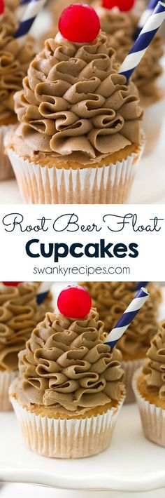 Root Beer Float Cupcakes are the most delicious dessert this summer! You'll love the root beer flavor packed into this cupcake. Made with cream cheese root beer buttercream frosting. Frosted with Russian Ball Tip. by aisha Easy Cupcake Recipes, Homemade Cake Recipes, Frosting Recipes, Healthy Dessert Recipes, Easy Desserts, Baking Recipes, Buttercream Frosting, Delicious Desserts, Cupcake Frosting