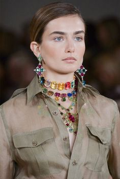 This is some epic necklace layering.  Don't know if I could pull it off, but I think I'm going to try... Ralph Lauren  Imaxtree  - HarpersBAZAAR.com