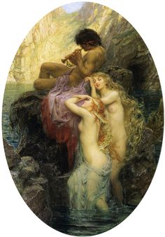 "Herbert James Draper, ""Sea Melodies""  This is an inerersting concepts, Whose call wins? Pan's pipes or the sirens?"