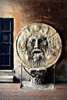 Bocca della Verità, part of an ancient Roman sculpture from 1st century AD. Santa Maria in Cosmedin, Rome