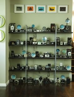 I love collections and this display of camera's really works!  Be inspired to start your own collection of something...