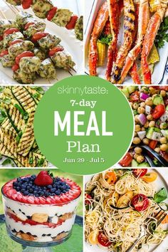 Italian Chopped Salad, Greek Salad Pasta, 7 Day Meal Plan, Salad In A Jar, Weight Loss Meal Plan, Meals For The Week, Lunches And Dinners, Meal Planning, Dinner Recipes