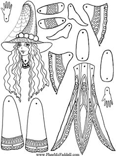 Druella Halloween Puppet Coloring Page Colouring Pages, Adult Coloring Pages, Coloring Books, Paper Puppets, Paper Toys, Paper Art, Paper Crafts, Foam Crafts, Paper Dolls Printable
