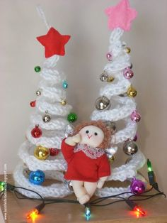 French Knitting Christmas Ornaments