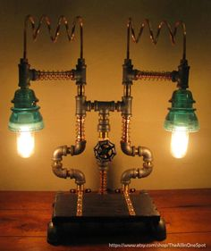 Custom Designed Industrial Copper, Brass and Steel Pipe Steampunk Desk or Table Lamp with Vintage Glass Insulators - FREE SHIPPING
