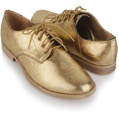 Metallic Lamé Oxfords ($25) ❤ liked on Polyvore