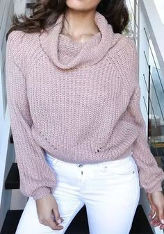 Pink Plain Crop High Neck Fashion Acrylic Pullover Sweater