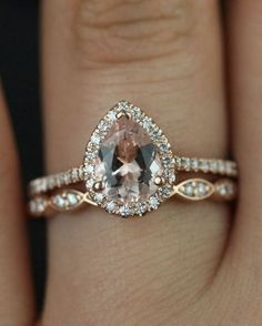 Princess Cut VS Pink Morganite engagement ring set,Curved U diamond wedding band,half bridal rose gold - Fine Jewelry Ideas Wedding Engagement, Wedding Bands, Wedding Set, Wedding Ideas, Dream Wedding, Unique Wedding Rings, Affordable Engagement Rings, Morganite Engagement Ring Pear, Bohemian Wedding Rings