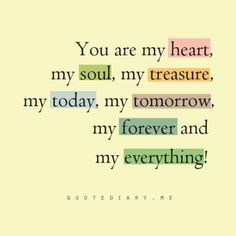 You are my heart, my soul, my treasure my everything. Great for wedding program. Love - marriage quote.