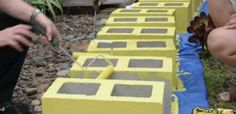 painting cinder blocks yellow & other ideas