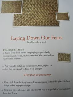 Laying Down Our Fears prayer station  from Sacred Space p. 71