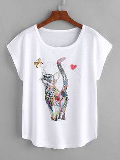 Shop Cat Print Loose Tee online. SheIn offers Cat Print Loose Tee & more to fit your fashionable needs.