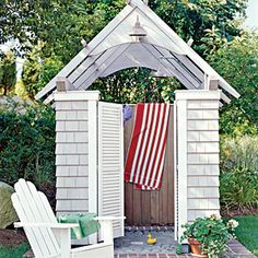 Ideas for…Fresh-Air Showers | Mimic Details - mimic your home's architectural details, then incorporate the structure into the landscape with fragrant and colorful plantings. If used at night, give some thought to lighting. | CoastalLiving.com