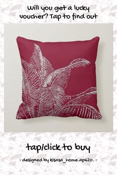 Burgundy & Gray Botanical   Elegant Tropical Palm Throw Pillow - tap/click to personalize and buy #ThrowPillow #burgundy, #gray, #grey, #modern, #elegant, Modern Decorative Pillows, Modern Throw Pillows, Grey Pillows, Accent Pillows, Modern Color Palette, Modern Colors, Botanical Line Drawing, Modern Room Decor