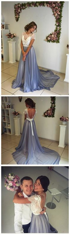 Prom Dresses,Modern Short Sleeve Lace 2017 Evening Dress
