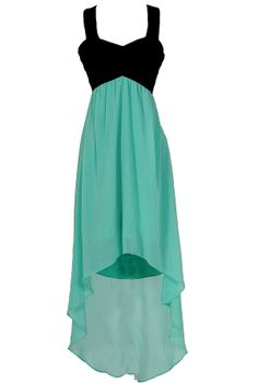 Black and Mint Chiffon High Low Dress
