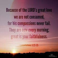Lamentations Because of the LORD's great love we are not consumed, for his compassions never fail. They are new every morning; great is your faithfulness. Read verse in New International Version Scripture Verses, Bible Verses Quotes, Faith Quotes, Bible Scriptures, Life Quotes, Praise The Lords, Praise God, Lamentations 3 22 23, Great Is Your Faithfulness