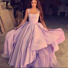 >> Click to Buy << Dreamy Purple Evening Dresses Vesstido De Festa With Square Neck Pleated Ruffle Skirt Evening Gowsn Dubai Abendkleider 2017 #Affiliate