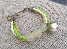 Handmade multistrand lime greean bracelet, pearl bracelet, thea elements on Etsy, £35.00