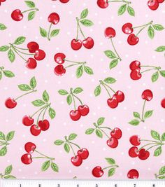 Novelty Cotton Fabric-Dots with Cherries Pink