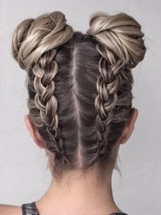 Boxer Braids into Buns I love this hairstyle because it looks so cute!