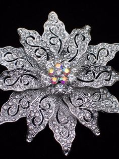 "AB SILVER RHINESTONE CHRISTMAS TREE POINSETTIA FLOWER PIN BROOCH JEWELRY 2.75"" #Unbranded"