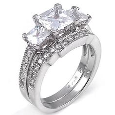 2 ct cz Princess cut Past Present Future Bridal Wedding Ring Set .925 Silver