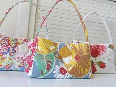 Vintage Tablecloth Bags by backhomeagainvintage, via Flickr