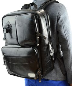 Another fab recycled tyre bag effort from SEAL. Handy backpack with multiple pockets & handy compartments.