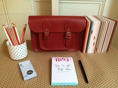 Getting organised for the week with our Red Satchel in tow.
