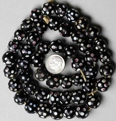 African Trade Beads | Venetian Eye Beads with red and white eyes {aka Skunk Beads } | from the late 1800s