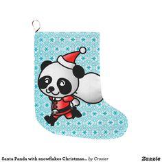 Santa Panda with snowflakes Christmas Stocking Large Christmas Stocking