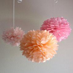 7 Pom Poms - Peachy Pink Tissue Paper Pom Poms - More Colors Available - Wedding Decor, Weddings, Shower Decor