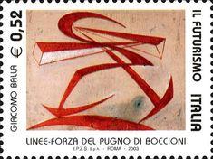 """2003 - Futurismo: - Giacomo Balla - """"LINEE-FORZA DEL PUGNO DI BOCCIONI"""", collezione privata."""