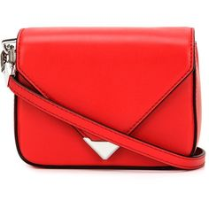Alexander Wang mini 'Prisma' envelope crossbody bag (3,220 MYR) ❤ liked on Polyvore featuring bags, handbags, shoulder bags, red, genuine leather handbags, red crossbody, leather shoulder bag, crossbody purse and mini shoulder bag