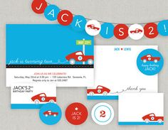 Printable Race Car Party by twopoochpaperie Race Car Birthday, Race Car Party, Cars Birthday Parties, It's Your Birthday, Race Cars, Party Printables, Party Planning, Party Time, First Birthdays