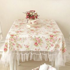 LOVE IT!!!!!  Shabby White Cottage Country Chic Victoria Rose Tulle Lace Ruffled Tablecloth
