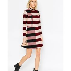 ASOS WHITE Funnel Neck Mini Dress in Block Stripe ($84) ❤ liked on Polyvore featuring dresses, multi, tall dresses, asos dresses, viscose dress, white mini dress and striped mini dress
