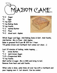 Apple Mabon Cake words of another source. MY Opalraines Production.