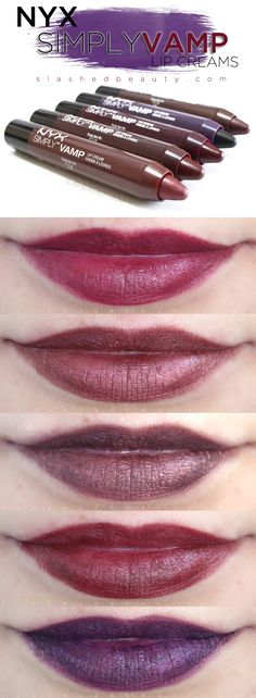 Review & Swatches: NYX Simply Vamp Lip Creams | Slashed Beauty