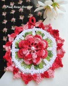 PINK ROSE CROCHET /: Pega Panelas Redondo com Flor Vermelho Mescla