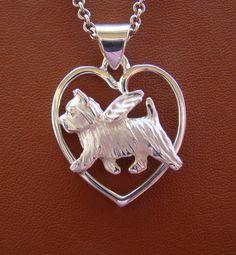 Sterling Silver Norwich Terrier Angel On A Heart Pendant Norwich Terrier, Indian Jewelry, Unique Jewelry, Heart Frame, Dog Jewelry, Gift List, Heart Ring, Pendants, Chain
